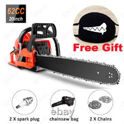 20 Inch Gas Powered Chainsaw 62CC 2-Stroke Chain Saws Tool Kit Wood Cutting+Gift