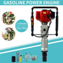 2Stroke 52cc Gas Power T-Post Driver Gasoline Engine Fence Post Hammer Push Pile