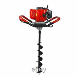 52CC 2.2HP Gas Powered Post Hole Digger Auger Fence Drill+ 6 Bits 2-Stroke