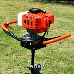 52CC 2-Stroke Gas Powered Post Hole Digger Auger Borer Fence Drill+4 6 8 Bits