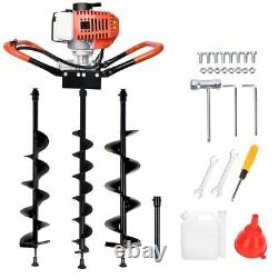 52CC Earth Auger 2-Stroke Gas Powered One Man Post Hole Digger Machine / 3 Bits