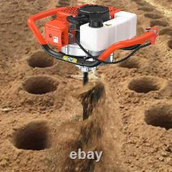 52CC Stroke Gas Post Hole Digger Earth Auger Petrol Powered Ground Drill& 3 Bits