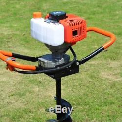 52cc 2-Stroke Gas Powered Earth Auger Post Hole Digger Fence Borer +3 Drill Bits