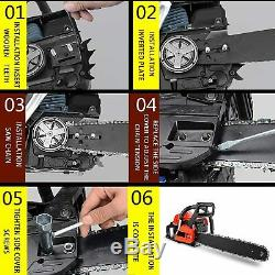 58CC Chainsaw 20 2 Strokes Gas Powered Petrol Chainsaw Saw Blade With Chains USA