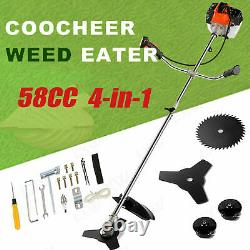 58cc 2-Stroke 4 in1 Gas Straight Shaft String Grass Trimmer Powered Brush 01