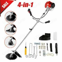 58cc 2-Stroke 4 in1 Gas Straight Shaft String Grass Trimmer Powered Brush 0