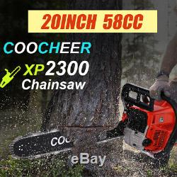 58cc Gas Powered Chainsaw 20 Inch 2 Stroke Handed Petrol Gasoline Chain Saw