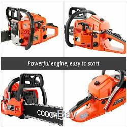 62cc 3.5HP 20 Powerful Petrol Chainsaw 2 Stroke Handed Gas Powered Chain Saw