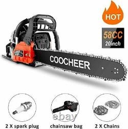 62cc Gas Powered Chainsaw 20 2-Stroke Handed Petrol Gasoline Upgraded Chain Saw