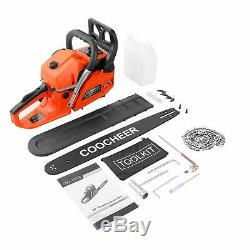 62cc Gas Powered Chainsaw 20 Inch 2 Stroke Handed Petrol Gasoline Chain Saw Red