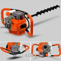 71CC 2 Stroke Gas Powered Post Hole Digger Auger Borer Fence Drill&4/6/8 Bits