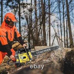 COOCHEER 20 Inch Gas Powered Chainsaw 2-Stroke 62CC Chainsaws with 2 Chains Kit