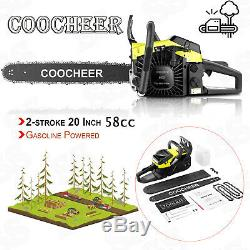 COOCHEER 58cc Chainsaw 20 Bar Gasoline Powered Chain Saw Engine 2 Stroke Gift