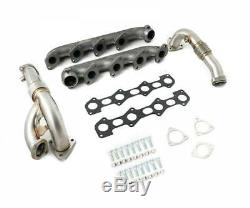 High Flow Exhaust Manifolds & Up Pipes For 2008-2010 Ford 6.4 Powerstroke Diesel