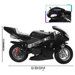 Mini Gas Power Pocket Motorcycle WithLamp 49cc 2-Stroke 55 km/h For Kids And Teens