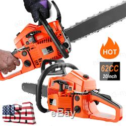 Petrol Chainsaw 62cc 3.5HP 20 Gas Engine Powered 2Stroke Handed Chain Saw Red
