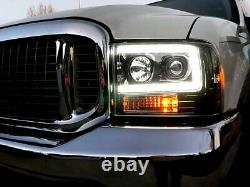Recon Clear Projector Headlights With OLED U-Bar For 1999-2004 Ford Super Duty