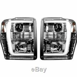 Recon Clear Projector Headlights With OLED U-Bar For 2008-2010 Ford Super Duty