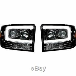 Recon Smoked Projector Headlights with OLED UBar 1999-2004 Ford Super Duty Trucks
