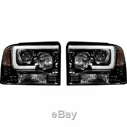 Recon Smoked Projector Headlights with OLED U-Bar For 2005-2007 Ford Super Duty