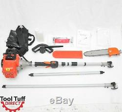 Tool Tuff Gas Powered Pole Chain Saw, 10' Reach, Collapsible, 33 cc, 2-Stroke
