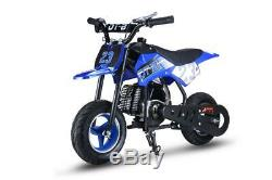Youth Kids Dirt Bike Blue Gas Powered Motor 51 CC 2 Stroke Off Road Ride On New